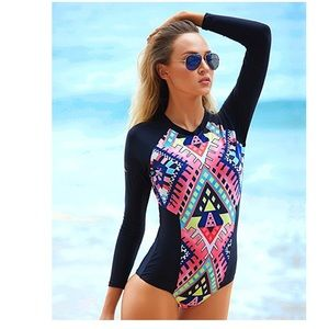 Swim - Women's Rashguard Long Sleeve Surfing Swimsuit